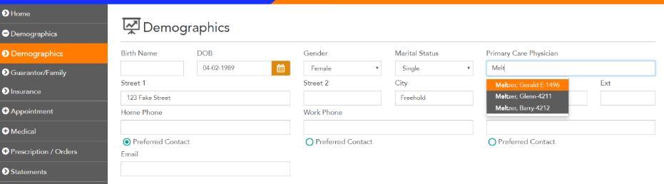 Demographics in Patient Portal