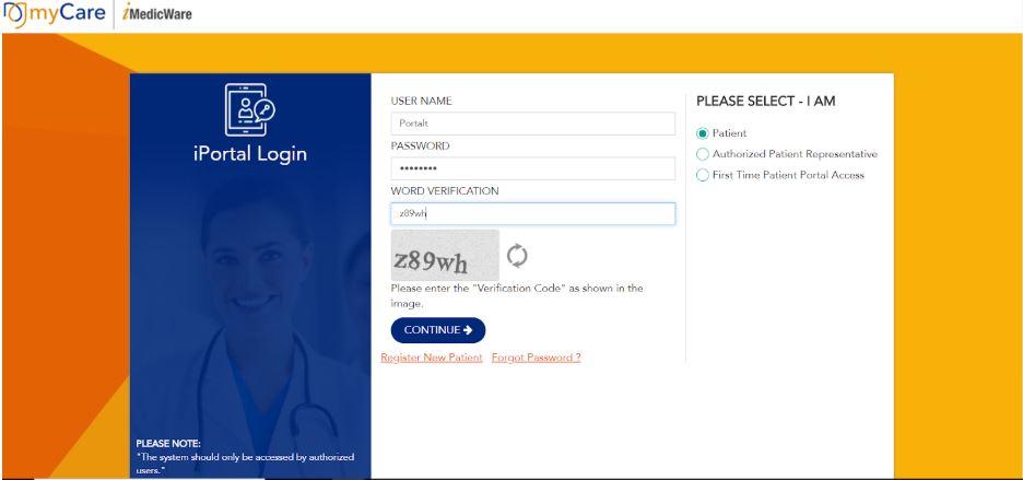 enter login for patient portal