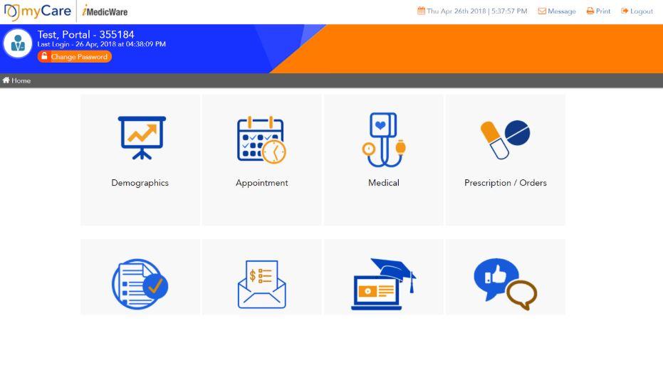 Patient portal home screen